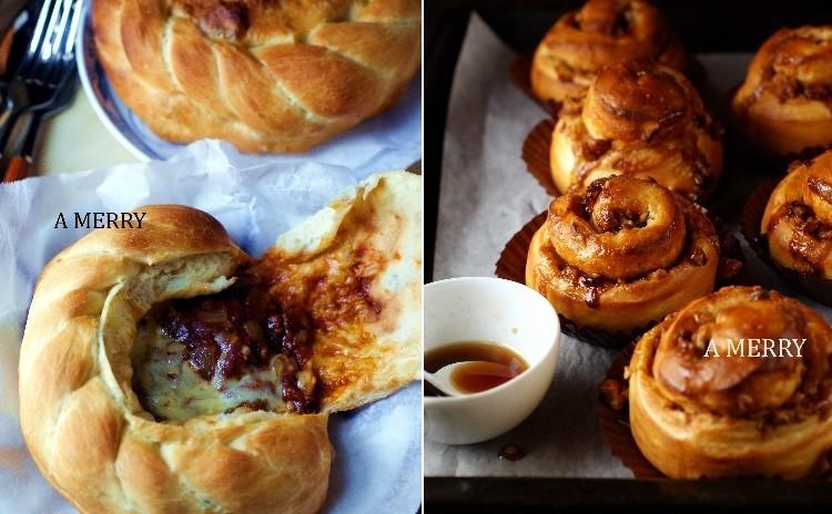 【ランチ付】Hotな惣菜パン♪ビーフシチューのポンパドールとキャラメルナッツをいっぱい巻き込んだメープルロールを2種類同時に‼