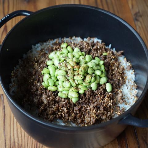 焼き枝豆の炊き込みご飯