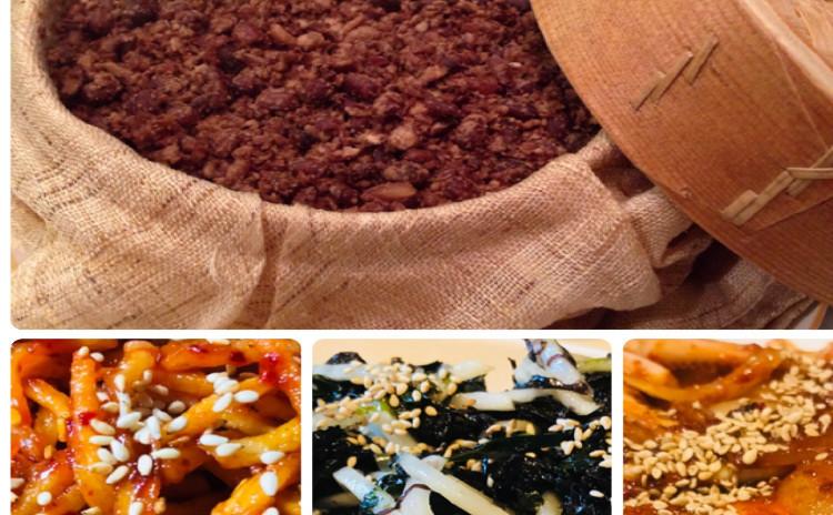 餅粉シルトック찰시루떡、サキイカ炒め오징어채、パレキムムチム파래김、オサムブルゴギ오삼불고기(イカと豚)