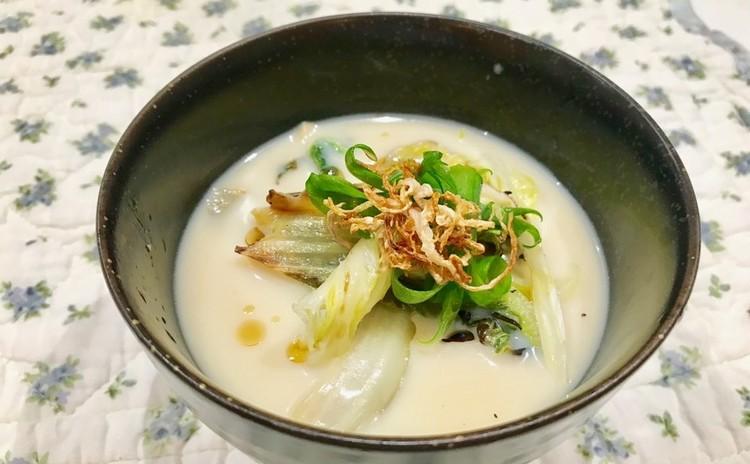焼き白菜と豆乳のスープ