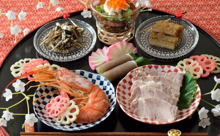 【スペシャルレッスン】自家製ロースハムと有頭海老、カニ身のポン酢ジュレも♡彩り綺麗なワンプレートおせち料理のレッスンです♪