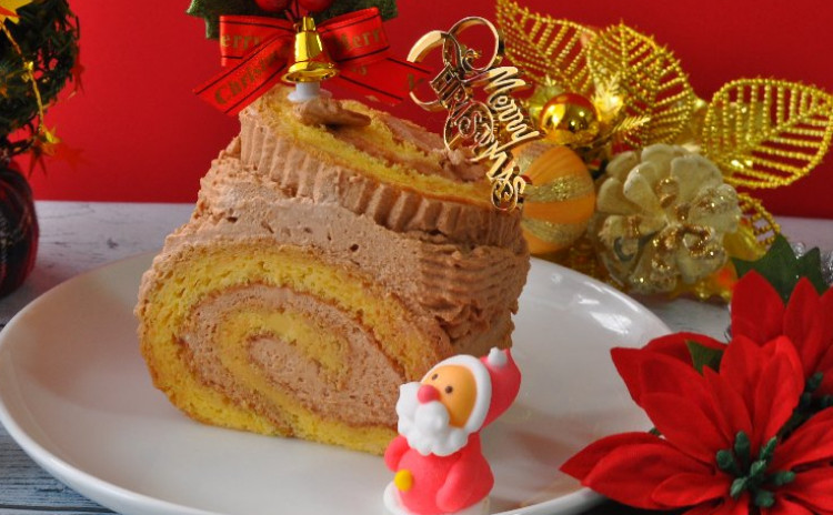 クリスマスを楽しむ~ チョコレートのブッシュドノエル