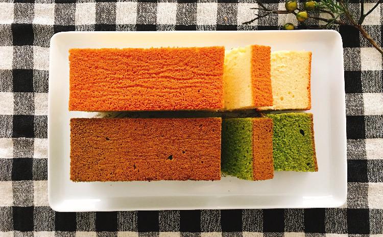 パウンドケーキ型で作る本格カステラ2種類(プレーンと抹茶)ラッピング付き