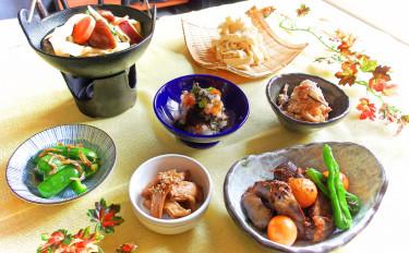 【居酒屋直伝!】甲府鳥もつ煮と手打ちほうとう&健康小鉢カルテット