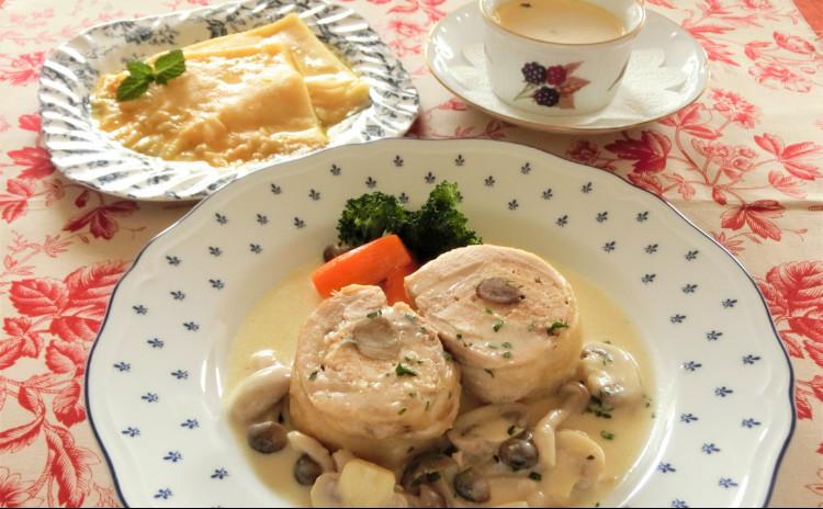 ◇日程追加!◇鶏肉の詰め物をしたクリーム煮、あさりとホタテのフラン、クレープシュゼット クリナップ新宿
