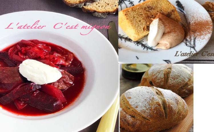 ボルシチとピンクサラダで、色鮮やか♪自家製パンとシフォンケーキもプラスしてお洒落な食卓に!