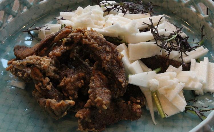 豚肉の唐揚げ長芋の甘酢ソース