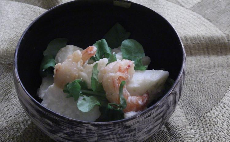 長芋と海老の蒸しサラダ