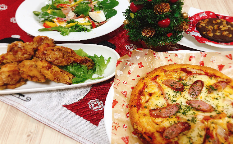 Xmasメニュー第2弾♪♪生地から作る手作りピザ&超時短でサクサクフライドチキン&シーザーサラダ&♡バレンタインにもオススメのチョコブラウニー♪