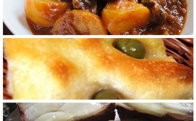 牛肉のパプリカ煮グラーシュとフォカッチャ、洋梨とチョコレートのテリーヌ