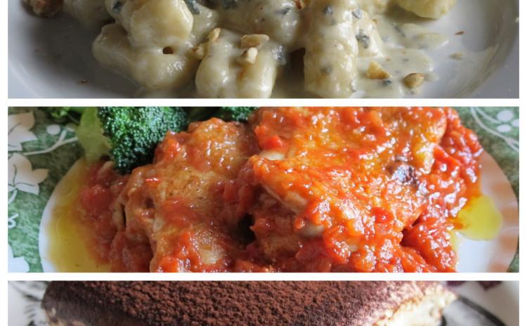 やわらかニョッキゴルゴンゾーラとチキンのトマト煮、定番ティラミス