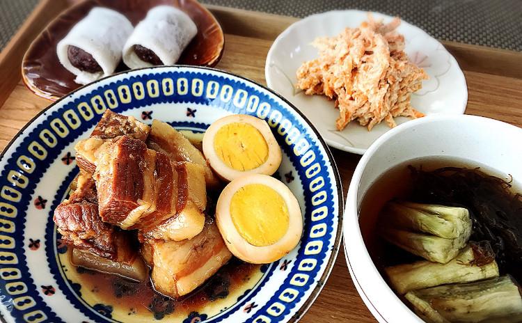 トロトロの豚の角煮と焼きなすのすまし汁♪簡単いちご大福他一品