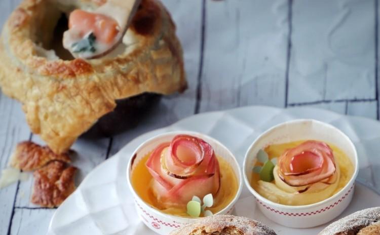 レンジ活用レッスン♬ホワイトソースのシチューパイ 薔薇のアップルパイ ライ麦とクランベリーのプチパン