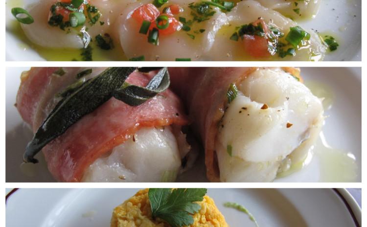 ホタテのカルパッチョ、鱈のベーコン巻き、人参のスフォルマート