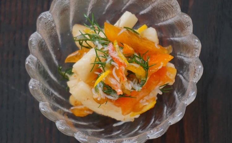 長芋と柿の酢の物