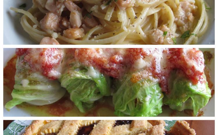 あっさりクリームのサーモンパスタ、シチリア風キャベツのファゴテイーノ、クロスタータ