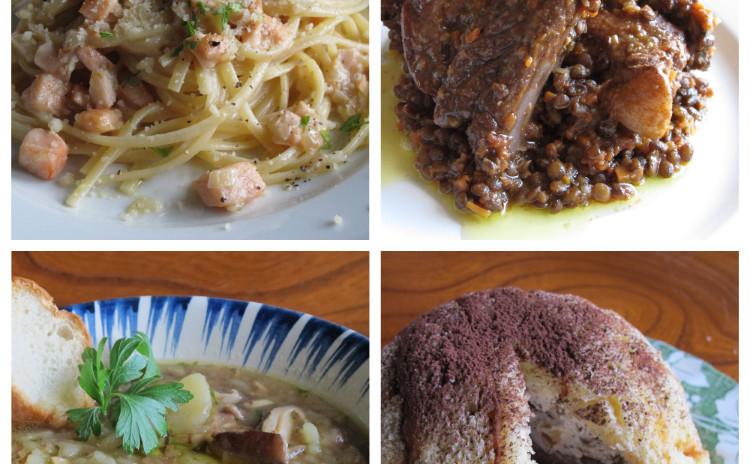 あっさりクリームのサーモンパスタ、シイタケのスープ、スペアリブとレンズ豆の煮込み、ズコット