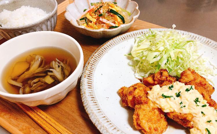 基本のおうちごはん④ふわふわ鶏胸肉のチキン南蛮&春雨サラダ&きのこスープです♪