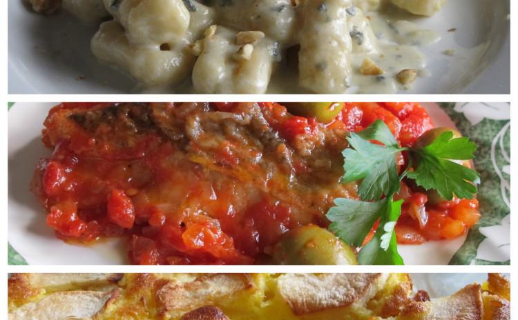 ニョッキゴルゴンゾーラソース、タラのトマト煮、リンゴとサツマイモの農民風ケーキ