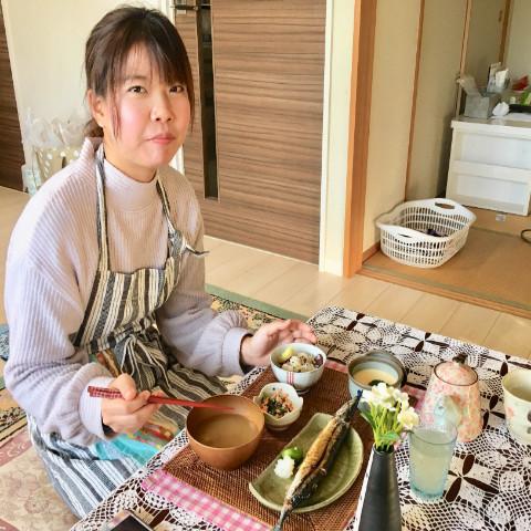 さつま芋の炊込みご飯/秋刀魚の塩焼き/4色白和え/フライパンで作る茶碗蒸し/なめこの味噌汁