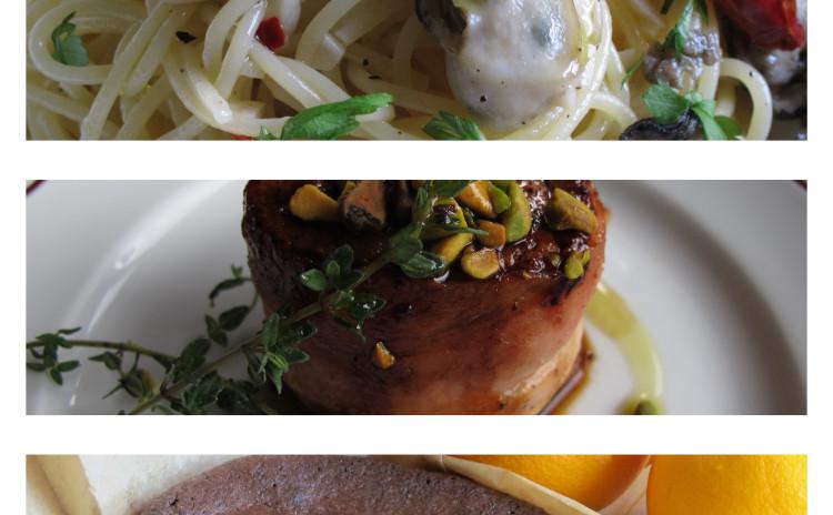 カキのペペロンチーノ、豚ヒレ肉のベーコン焼き、トルタカプレーゼ