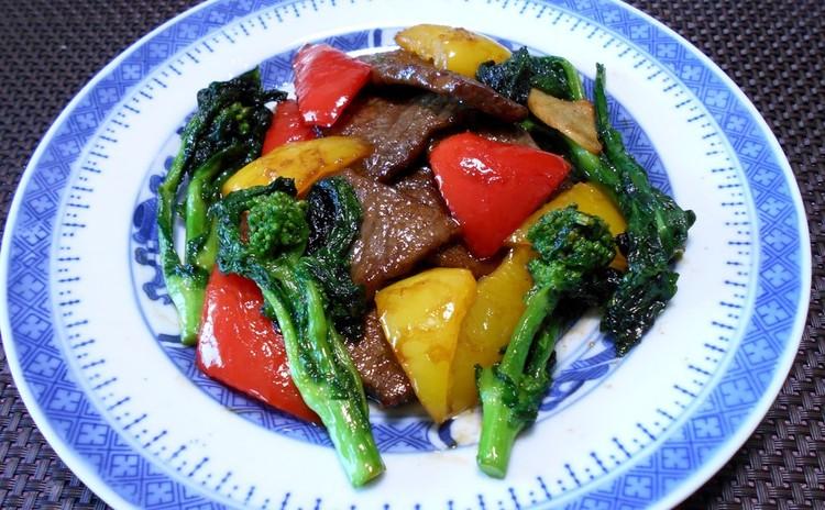 牛肉と菜の花の炒めもの