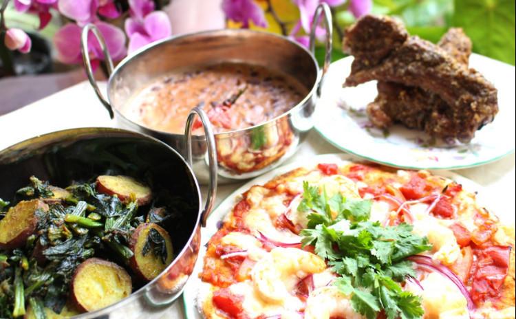 冬のおもてなしインド料理「スペアリブ南インドスタイル・小豆とミートボールカリー・インディアンピッツァ・縮みほうれん草と紅はるかのサブジ」デザート付き