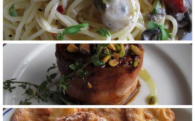 カキのペペロンチーノ、豚ヒレ肉のベーコン巻きサルサミエレ、リンゴのフリッテッレ