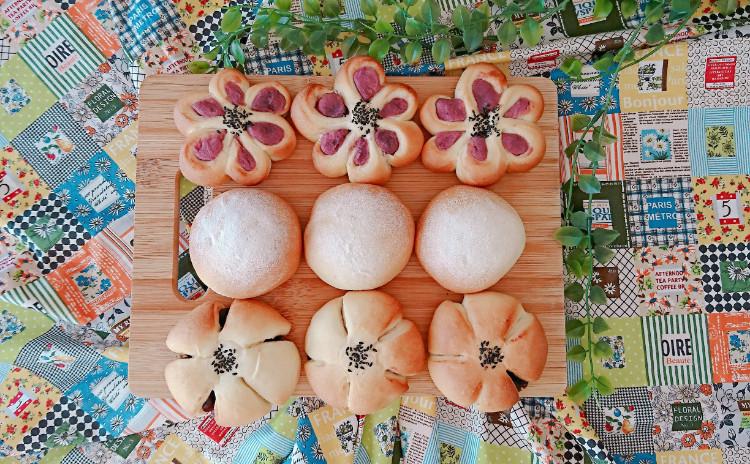 米粉入りの生地で3種類の成形を学ぶ!こしあんぱん&粒あんぱん&紫いもあんぱん