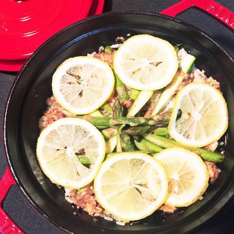 鯖缶とアスパラの炊き込みご飯