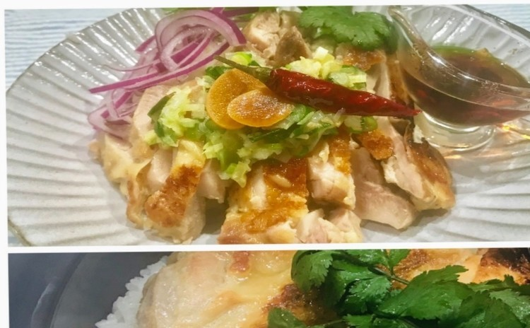 海南鶏飯をトリプルのたれで。鶏の旨味をご飯に吸わせ、ご飯はしっとり、鶏は柔らかく炊き上げます。ニンニク醤油、塩生姜ネギ、ラー油(手作り)のトリプルをかけて仕上げます。