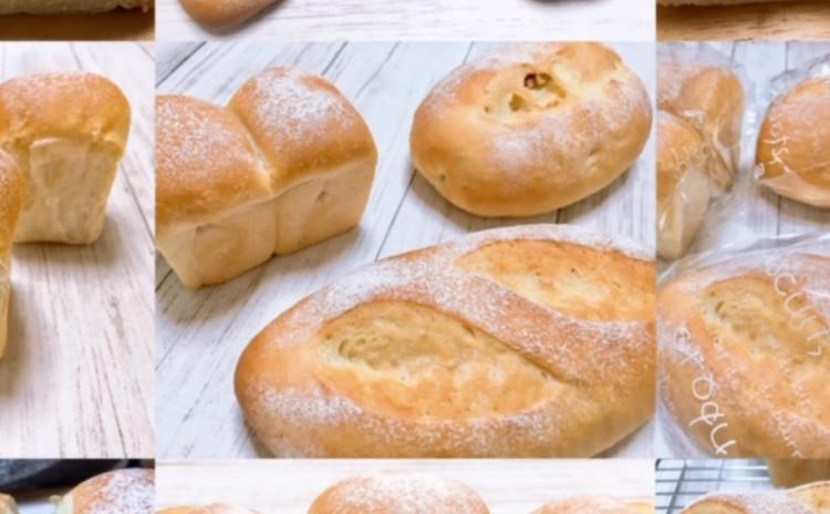 **パンでおもてなしランチ**①1つの生地から食事パン3種(プレーン、くるみ、ミニ食パン)②具だくさんのサラダボール③ミネストローネ④苺ジャム⑤ハーブオイル(クリームチーズ入り)