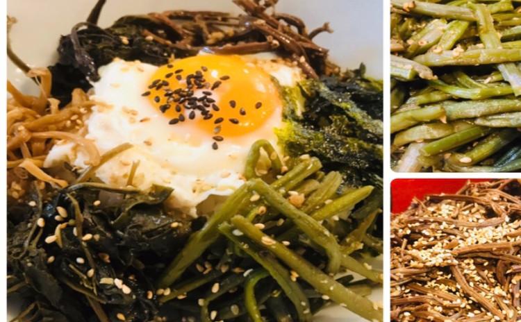 山菜ナムルビビンバ산채나물비빔밥(4種類ナムル)タラスープ북어국.即席オイキムチ오이겉절이