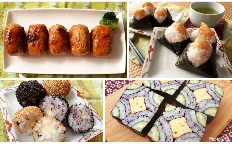 [おにぎり特集&飾り寿司]肉巻きおにぎり・名古屋風天むす・チーズがとろ~り揚げおにぎり・スクエア飾り寿司