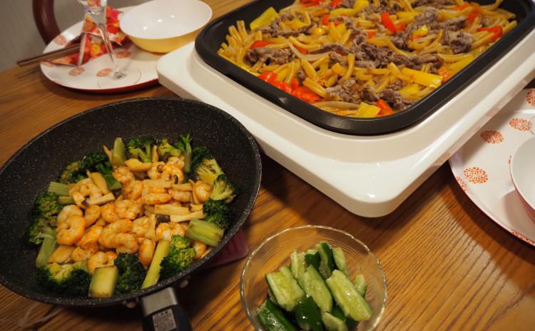 【料理教室:実習あり】ホットプレートでBBQ気分♪海老のオイスターソース炒め&パスタで焼肉パエリア