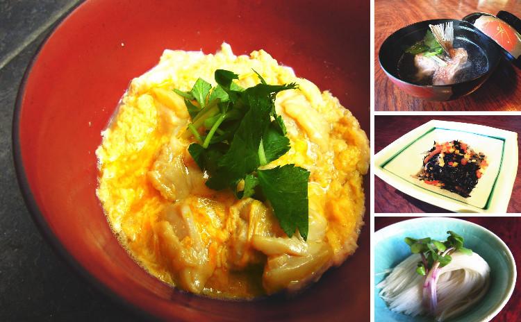 料理屋の親子丼・ひじきの煮物・鯛の潮汁・長芋そうめん(煎り酒)