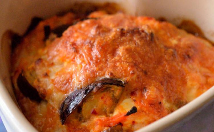 茄子とキムチの豆腐グラタン