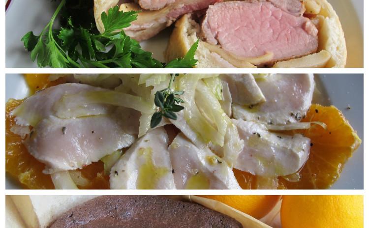 豚ヒレ肉のパン包み焼き、カジキマグロとオレンジのカルパッチョ、トルタカプレーゼ