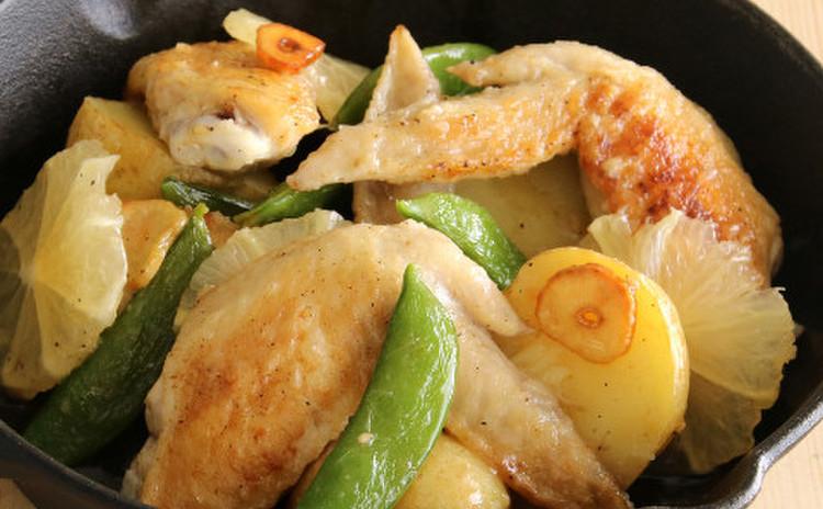 手羽先と春の緑野菜の塩レモンソテー