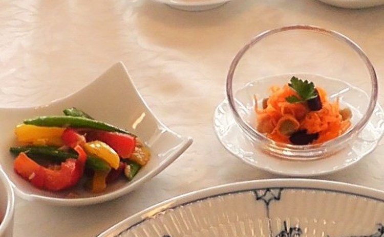 人参とお豆のオレンジラペ&スナップエンドウとパプリカのアンチョビソテー