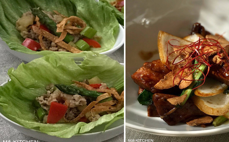 豚肉とアスパラのレタス包み・レバニラ炒め・搾菜と黒胡椒のご飯・鶏団子と青梗菜のスープ・他