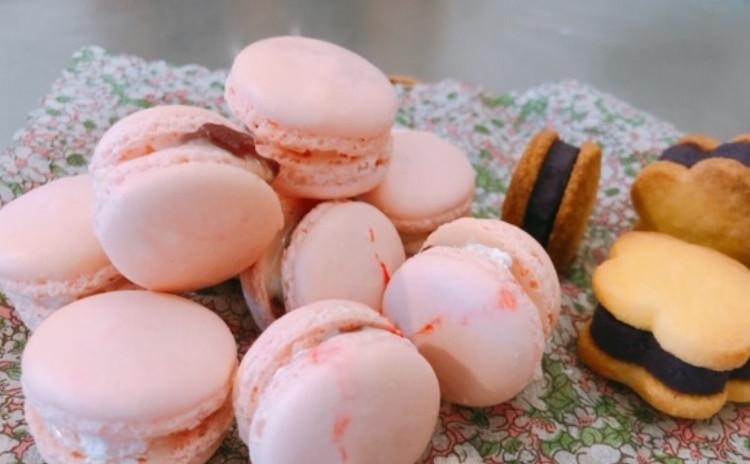 お餅入りのさくらもちマカロン、しっとり紫芋クッキー♪求肥も手作りしましょう!