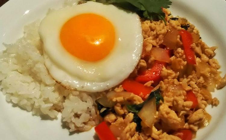 鶏のひき肉炒めご飯(ガパオ風ご飯)