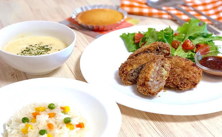 基本のおうちご飯 ⑥ キャベツたっぷりミンチカツをメインにお鍋で簡単ピラフ&コーンスープ♪デザートはマドレーヌを焼きます♪
