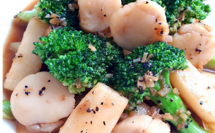 ホタテとブロッコリーと長芋のオイスターソー炒め(単品定価:7,000円)