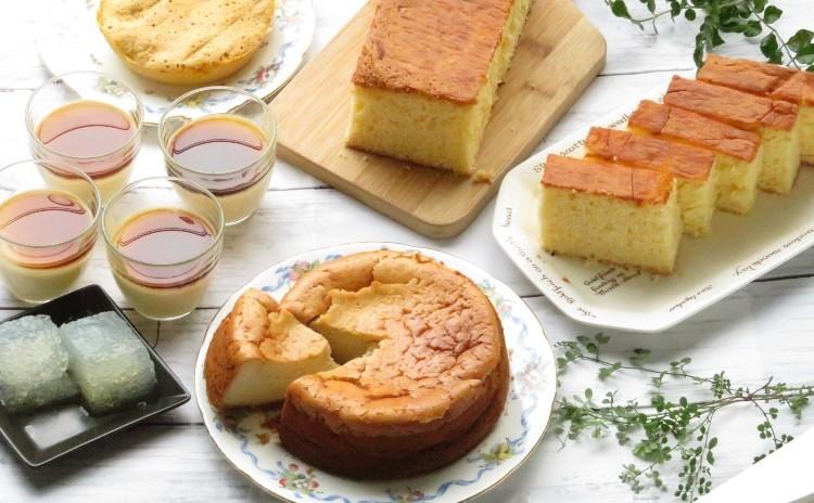 【プライベート】和スイーツレッスン♪黒蜜きなこのチーズケーキ・カステラ・ほうじ茶ラテゼリー・サイダー寒天・おまけの蒸しケーキ