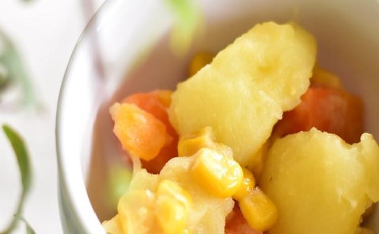 新玉ねぎとジャガイモのコーン蒸し