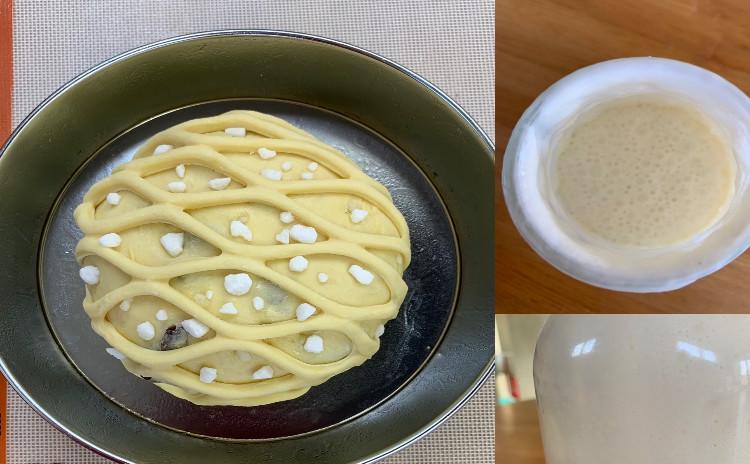 レーズン大好き❗️自家製ヨーグルト酵母で作るパンドゥリュージュ21cm1個&レーズンシュガークッペ1本✦レーズンサンド♥クラムリゾット風イタリアフレゴーラ