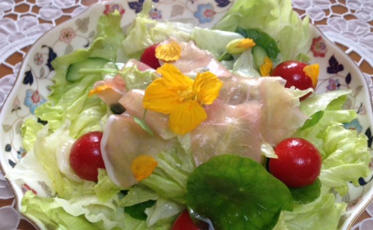 彩り鮮やかスパニッシュオムレツ・ビーフストロガノフ・簡単ガーリックライス・ナスタチウムサラダ・チーズケーキ風マシュマロケーキ