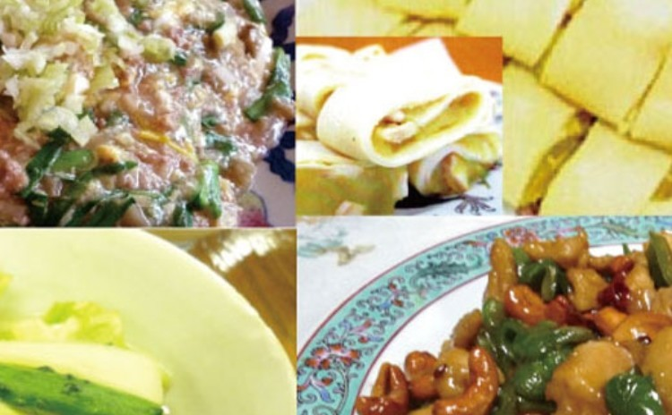 中華料理の基本をマスターしよう!!           カシューナッツと鶏肉のピリ辛炒めや自然発酵させて作る泡菜、かりっと焼き上げた春野菜のあんかけ焼きそば、スイートポテトの薄皮巻。